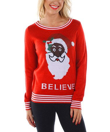 This Red Santa Sweater - Women is perfect! #zulilyfinds