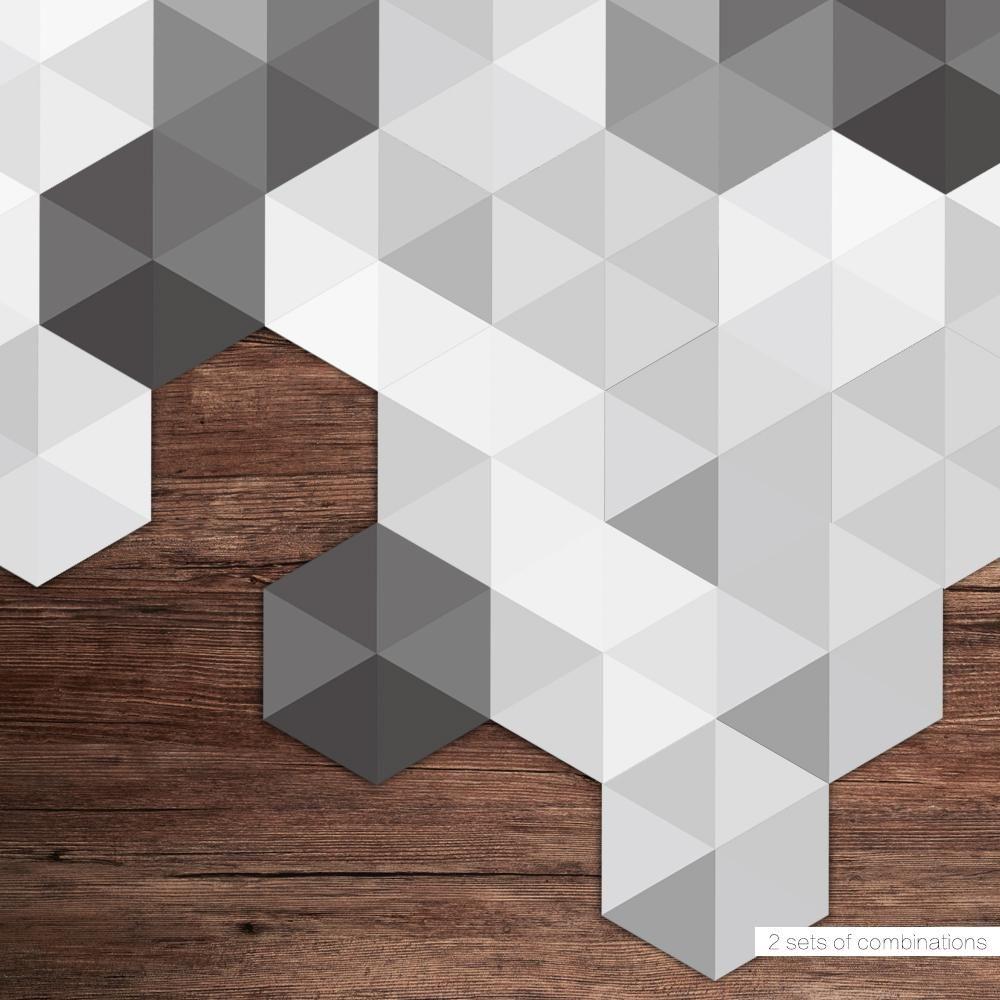 Dalles Adhesives Pvc Pour Cuisine Noir Blanc Et Gris 20x23cm Lot Cuisine Au Top Wall Stickers Living Room Bathroom Wall Stickers Floor Sticker