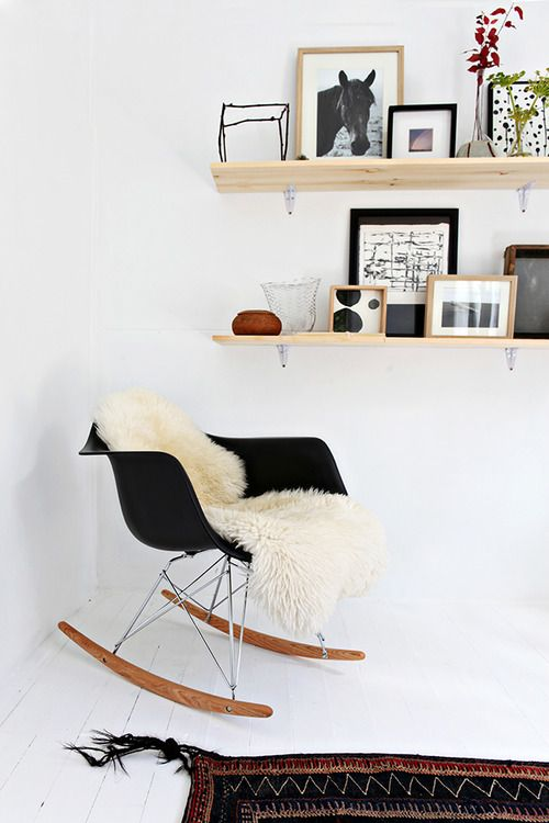 rocking chair + sheepskin | Home Interior | Pinterest | Shelving ...