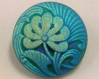 Czech Glass Button Flower Matte Teal Gold 18mm With Pendant Converter C180