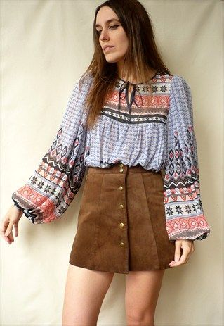 Pepe Jeans Indian Hippie 70s Style Printed Smock Top