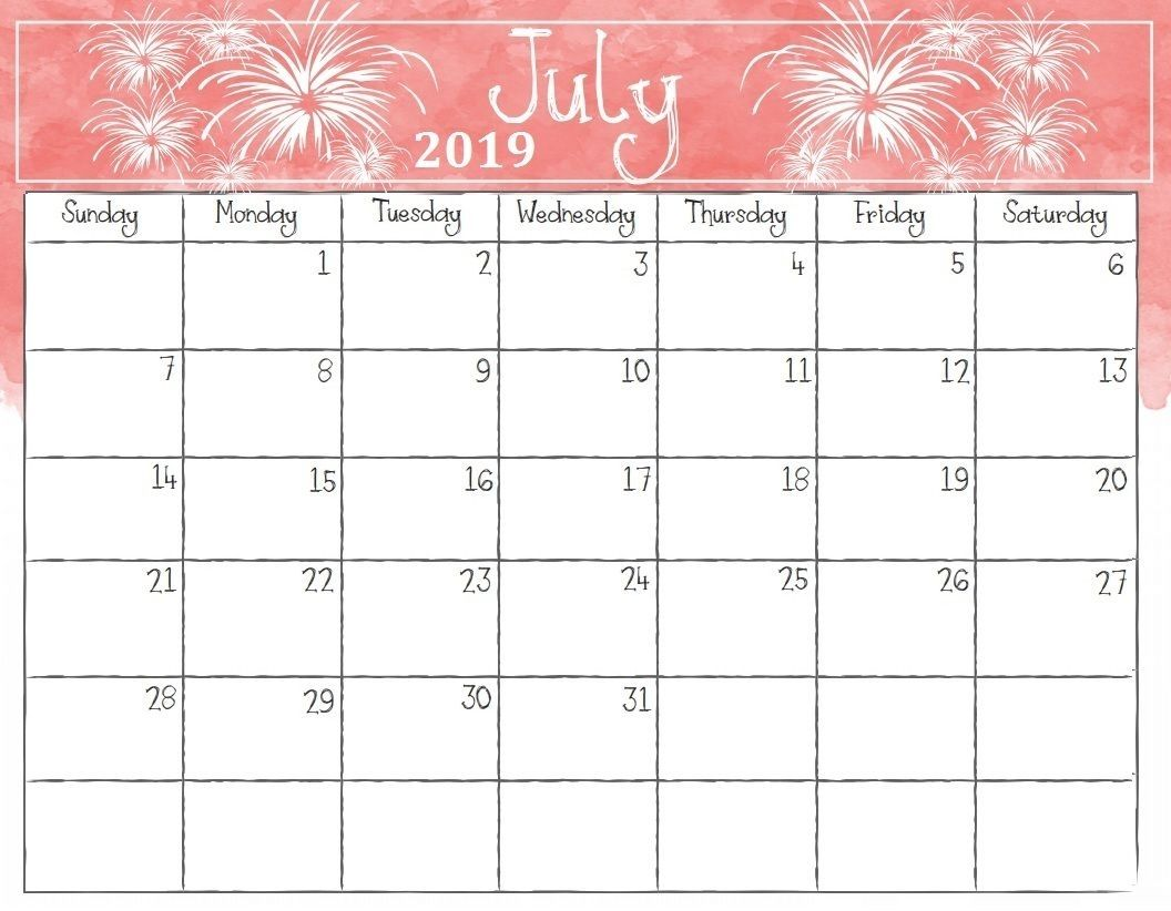 Catch Cute July 2019 Calendar With Holidays Printable Calendar