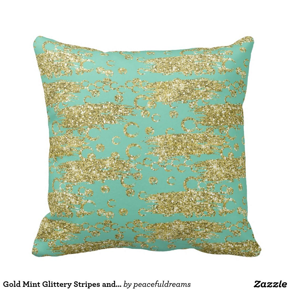 Gold Mint Glittery Stripes and Circles Pillow