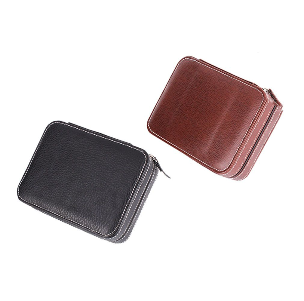 4 Case Genuine Luxury Leather Watch Travel Case Collector