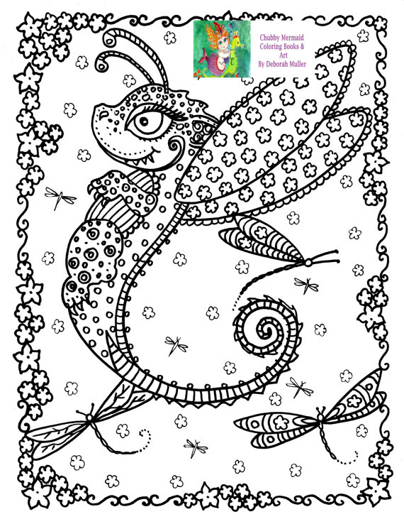 Instant Download Coloring Page Baby Dragon For Adults Fantasy Art Books Digi Adult Stamp