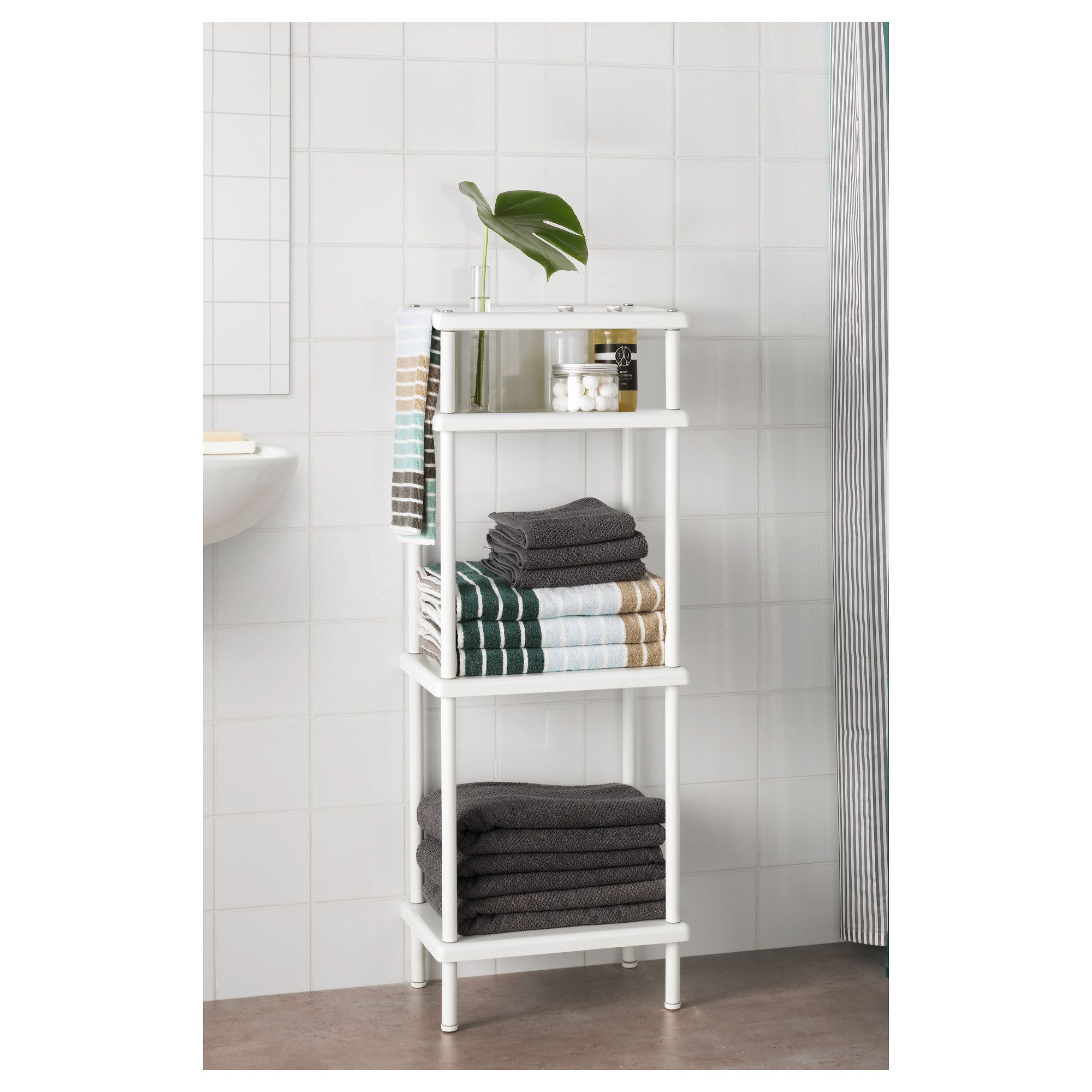 Ikea Dynan Shelf Unit With Towel Rail White