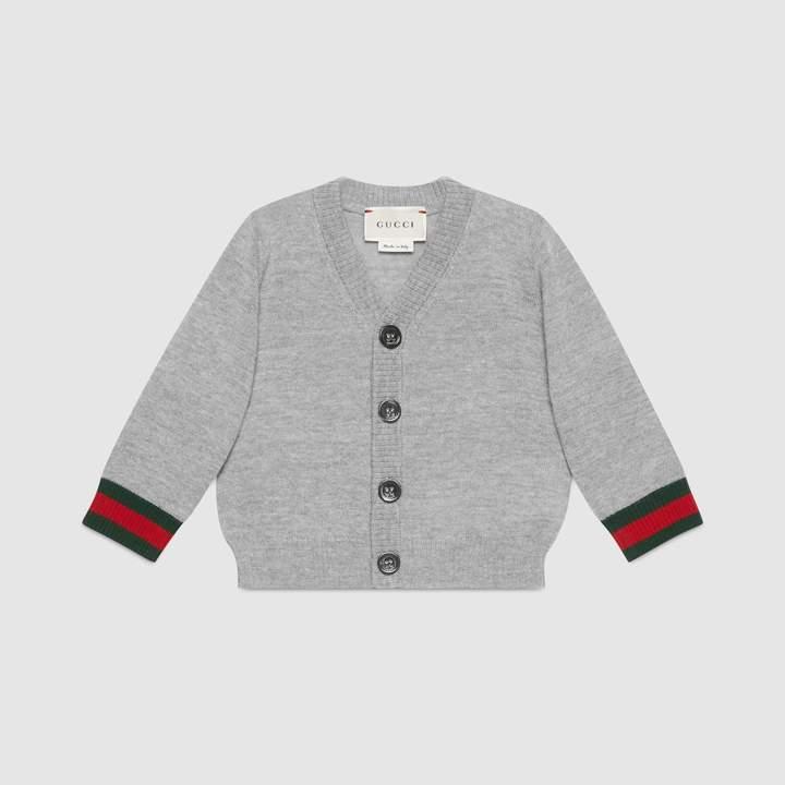 18217bd5e Gucci Baby merino Web cardigan sweater | Products | Gucci baby ...