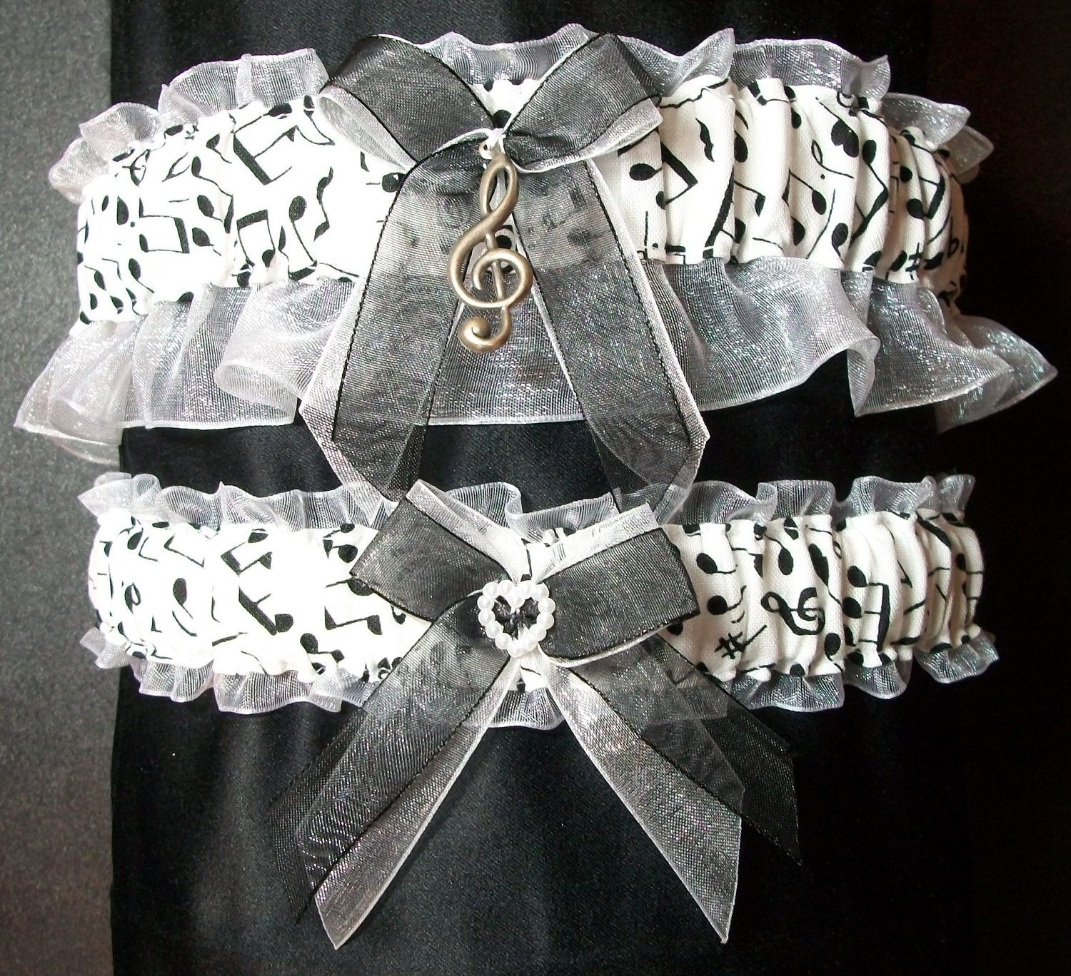 Handcrafted Music Notes Bridal Garter Set By