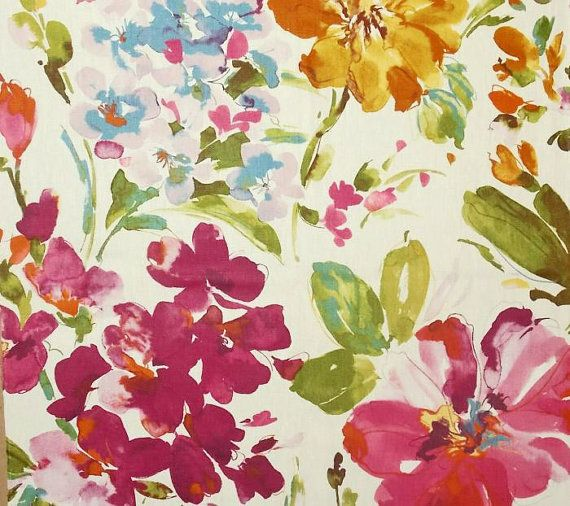 Abstract Floral Curtains Watercolor Print Floral Curtains