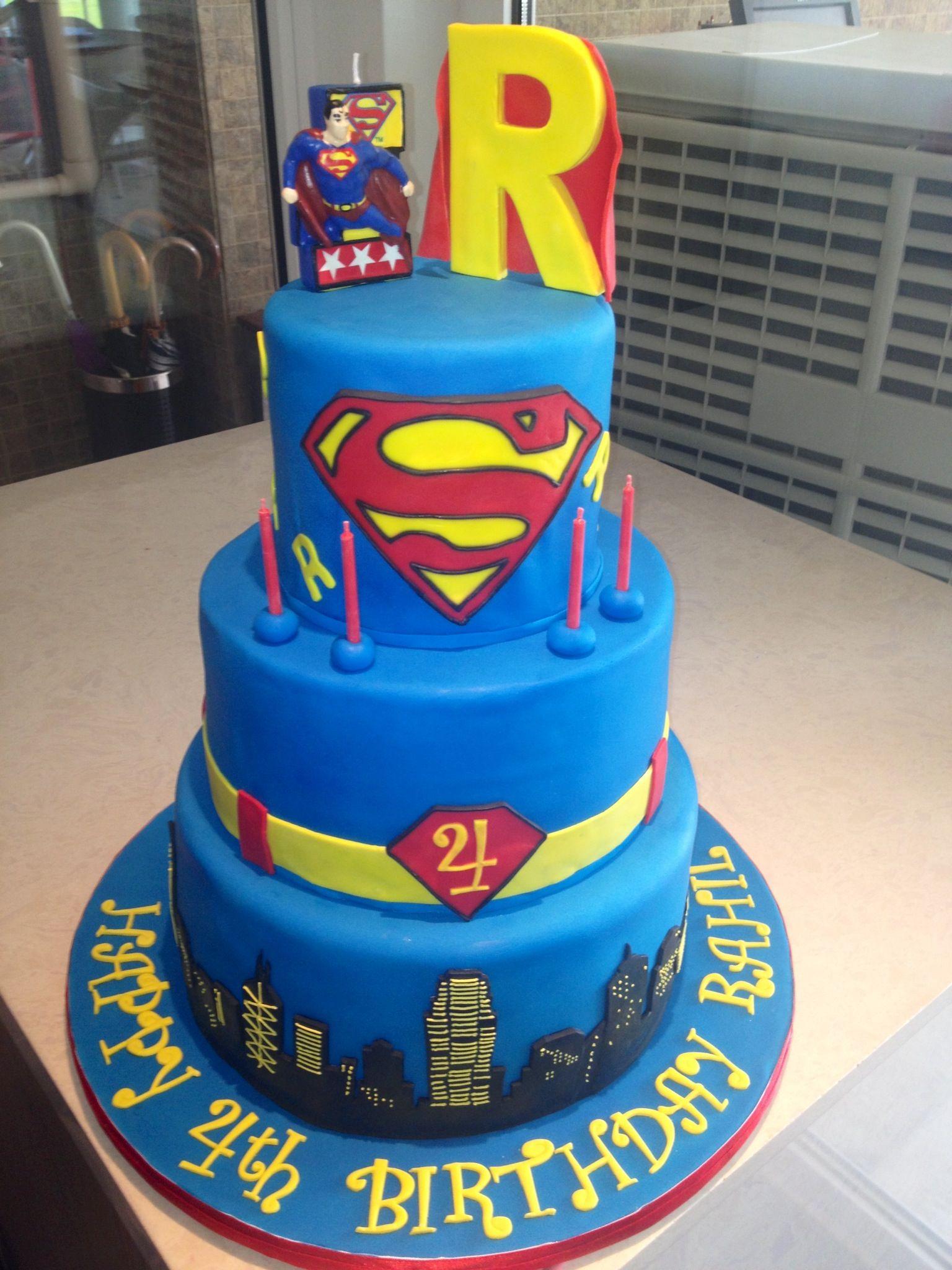 3 Tier Superman Cake 4th Birthday Boy Suga Suga Cakes Pinterest