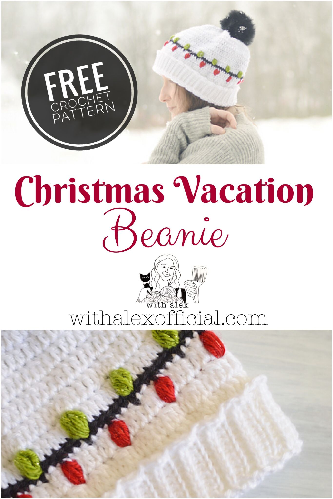 The Christmas Vacation Beanie is the perfect hat for the holiday/Christmas Season! The crochet Christmas light stitch adds a fun and whimsical element without going overboard. This free crochet pattern also has a flip up brim which makes it very warm and cozy. #christmashat #crochetchristmas #freecrochetpattern
