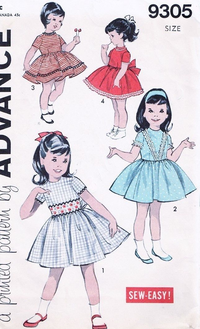 60s ADORABLE Little Girls Dress Pattern ADVANCE 9305 Childrens Day ...