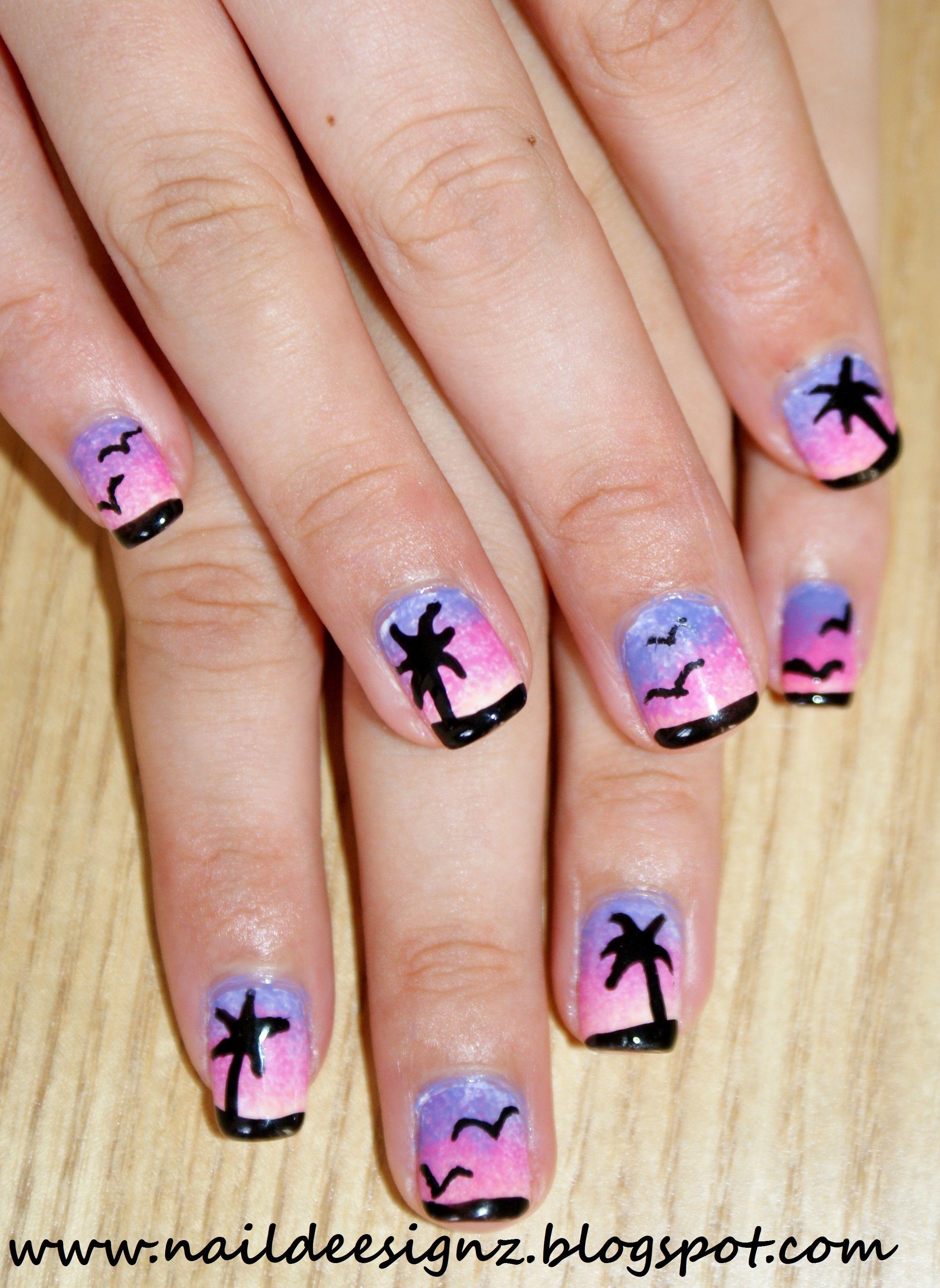 Purple and blue beach nails | Tropical nails, Beach nails