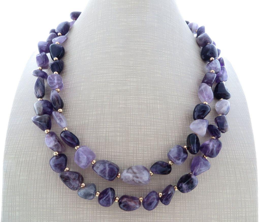 purple stone bead necklace,gemstone Amethyst stone necklace
