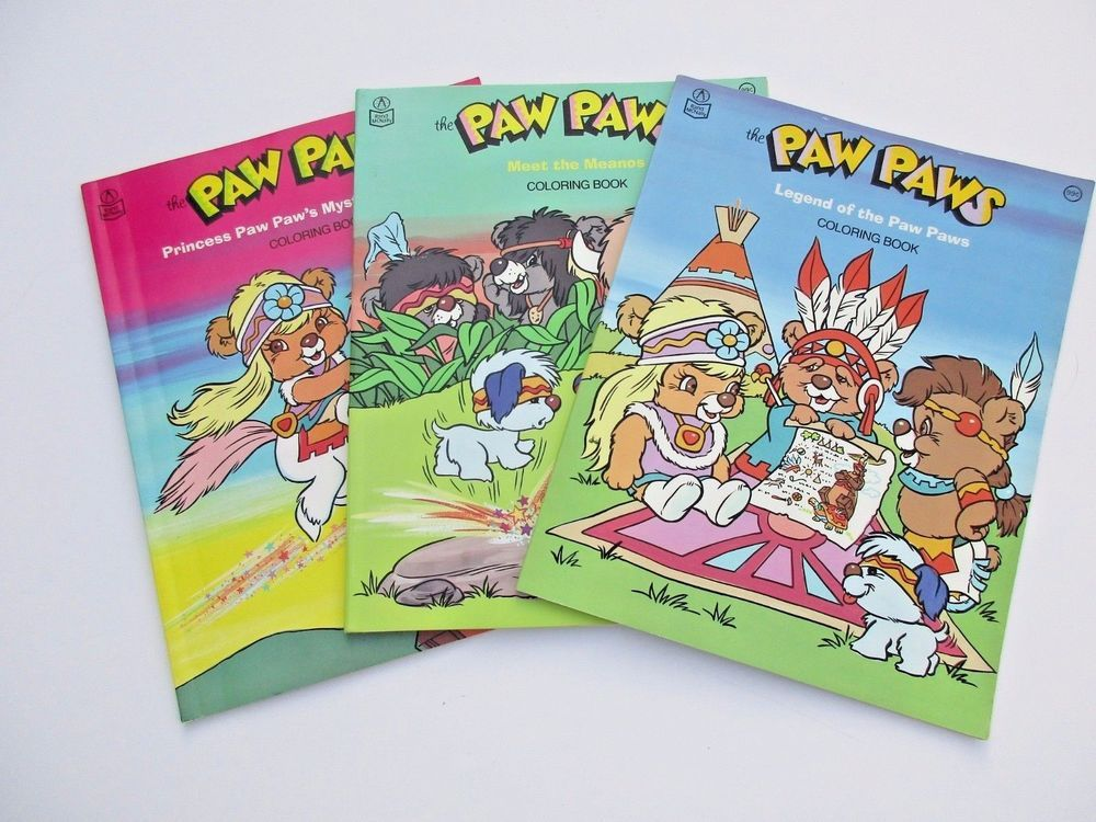 Vintage Paw Paws Coloring Book Lot Hanna Barbera Rand Mcnally Unused Coloring Books Books Kids Zone