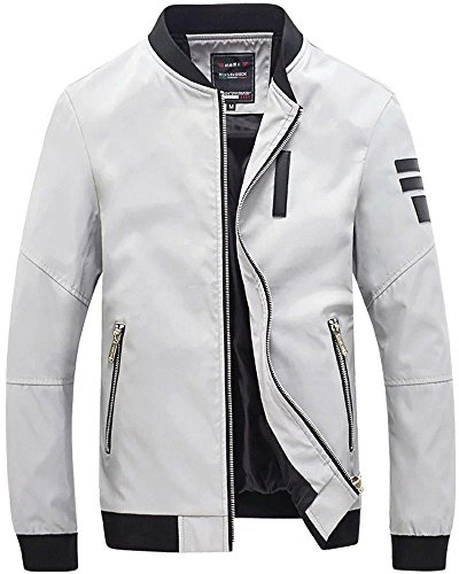 Men S Fashion Stand Collar Zipper Casual Slim Fit Bomber Jacket Coat Grey Slim Fit Bomber Jacket Casual Bomber Jackets Stand Collar Jackets [ 1875 x 1500 Pixel ]