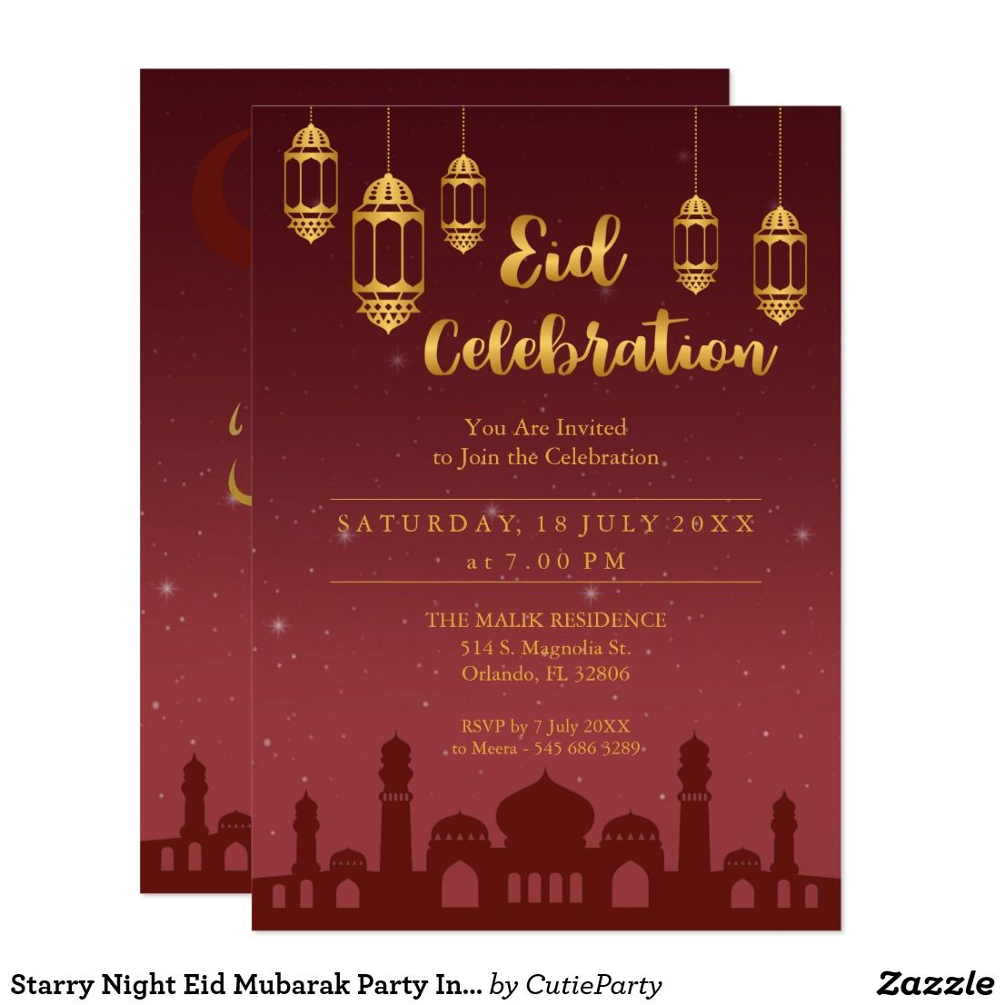 starry night eid mubarak party invitation  zazzle