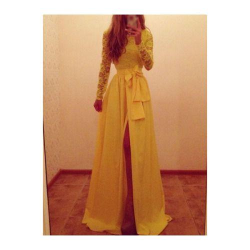 Lace prom dress pinterest yellow