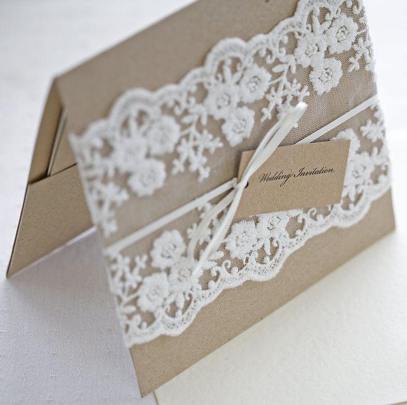 Rustic Lace wedding invitations pocketfold