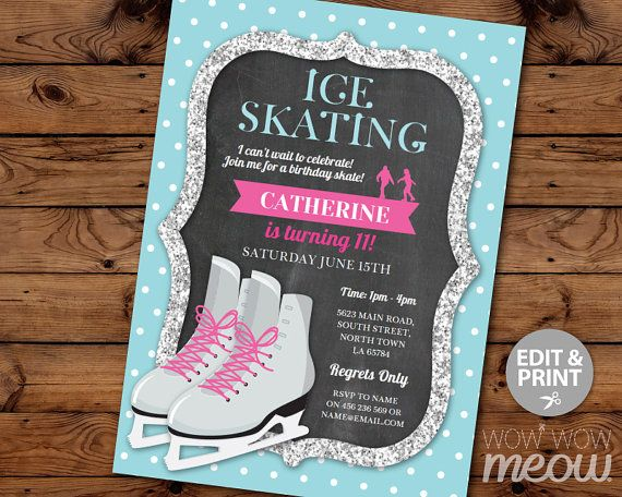 Ice Skating Invitation Birthday Party INSTANT DOWNLOAD Silver