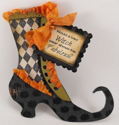 Witches Shoe I Would Use This As An Invitation Http Craftspotbykimberly Blogspot Com 2011 09 Witch Sh Witch Shoes Halloween Projects Halloween Inspiration
