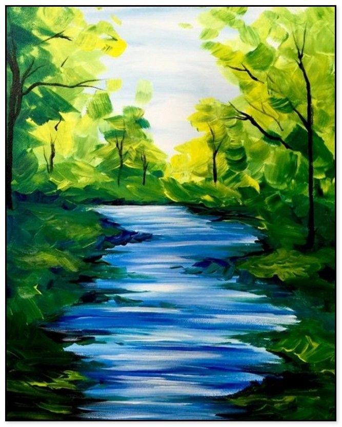 56 Easy And Simple Landscape Painting Ideas Easy Landscape Paintings Nature Paintings Night Landscape