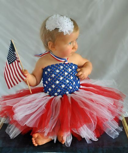 4th of July Kids Baby Girls American Flag Stars Striped Tutu Romper Dress Outfit