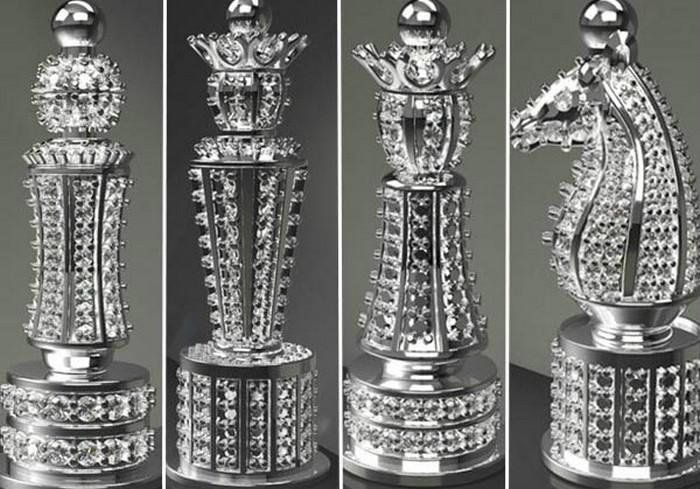 the most expensive chess set in the world yet. This label goes to the Jewel Royale Chess Set from Britain. Boodles, a British custom jewelry company commissioned its production.