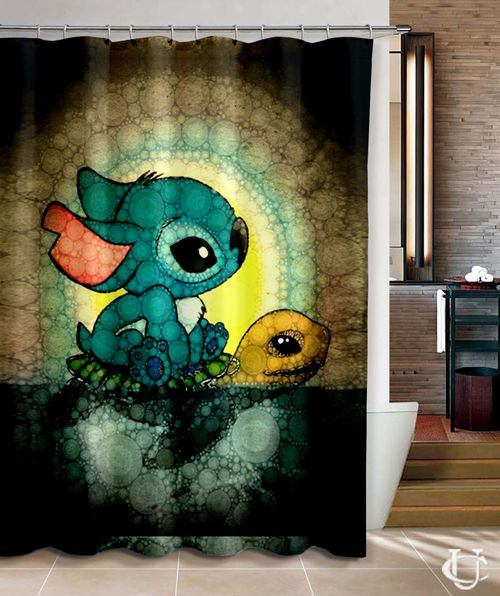 Cheap Swimming Stitch And Turtles Design Shower Curtain Room Accessories Diy Room Accessories Custom Shower Curtains