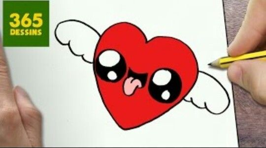 Coeur Volant Kawaii Cute Heart Drawings Drawing Lessons