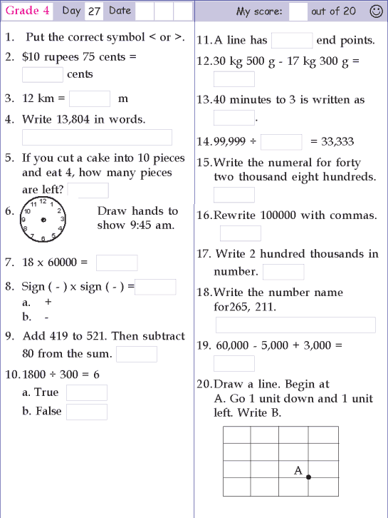 Mental Math Grade 4 Day 27 4th Grade Math Worksheets Mental Maths Worksheets Mental Math