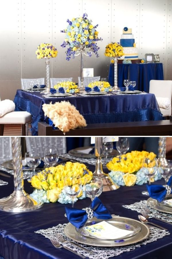 royal blue and yellow tablescape