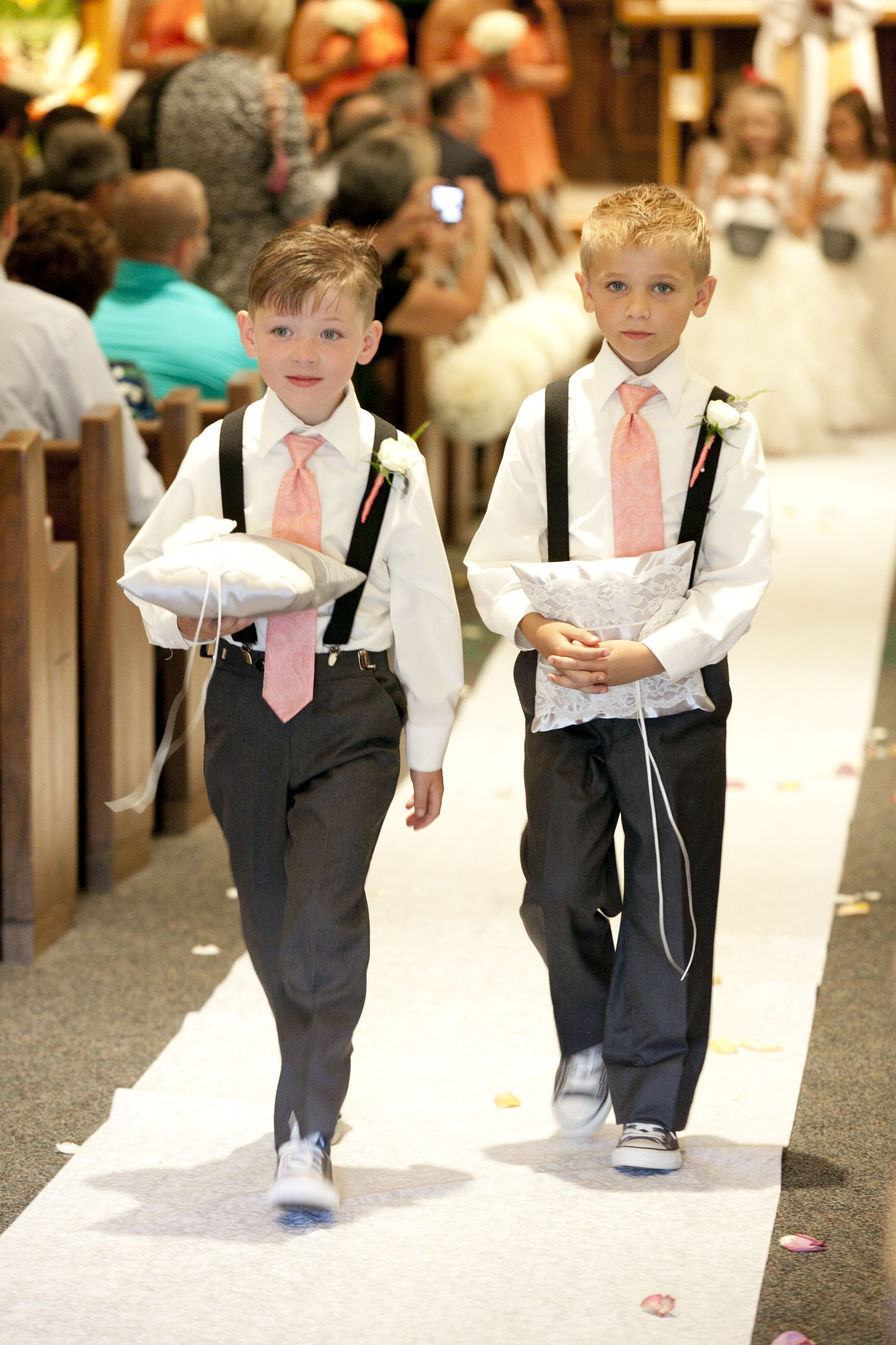 7f26578b494d1 Ring bearers, suspenders, chucks, coral and grey | Our Wedding ...