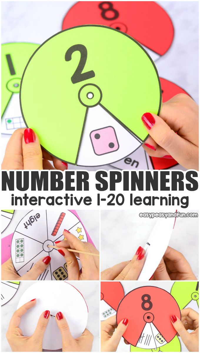 Printable Number Spinners 1 to 20 - Number Sense #games