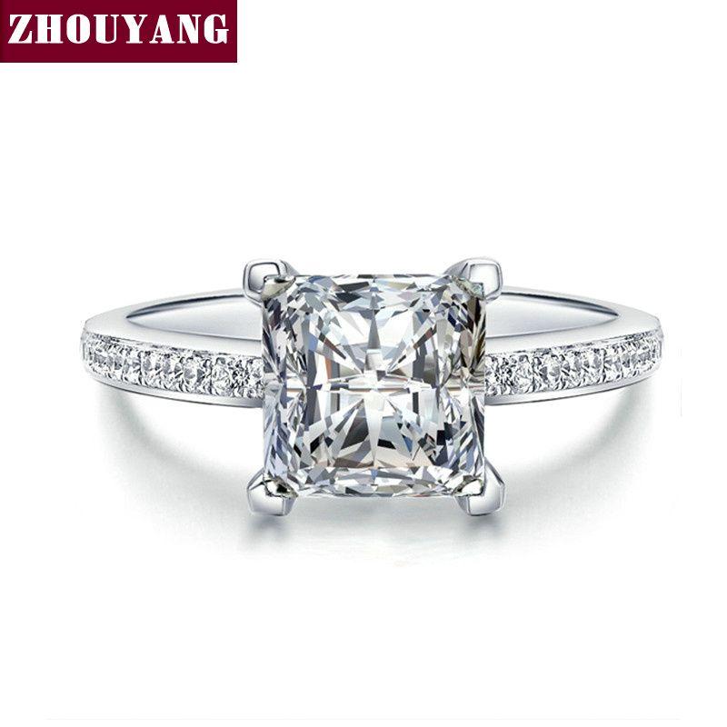 Zilver Kleur Zirconia CZ Bijoux Fashion Wedding & Engagement Ring Sieraden Voor Vrouwen Als Aniversary Gift ZYR569