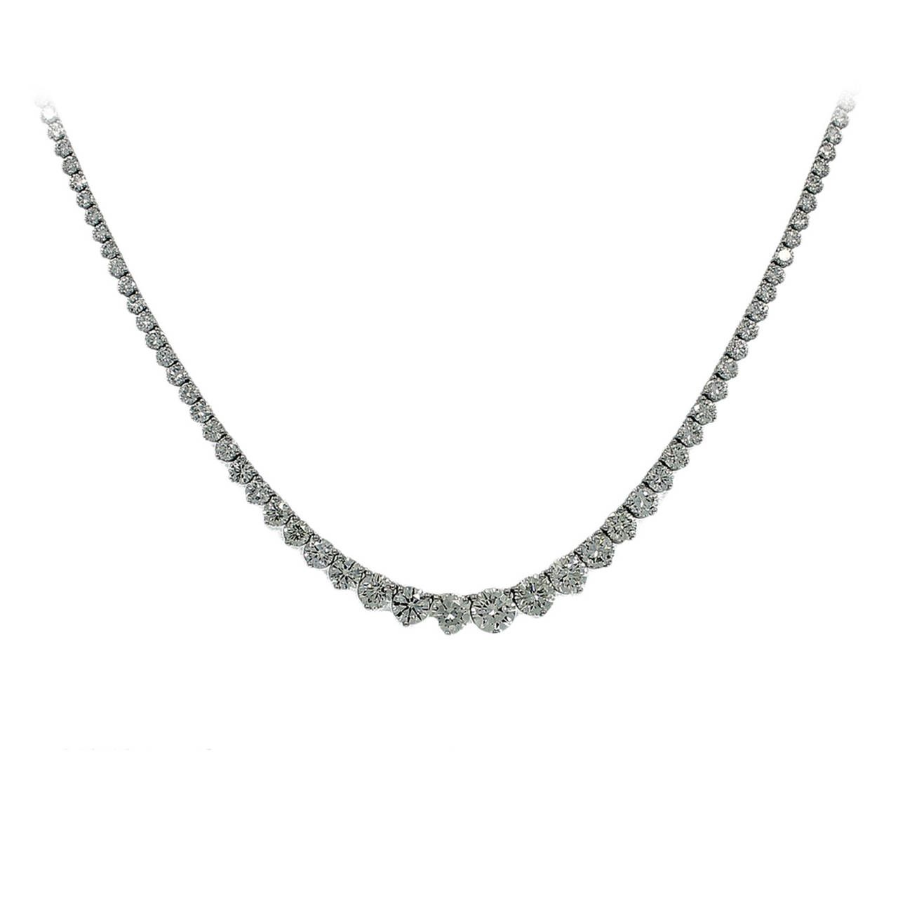 Platinum Riviera Diamond Necklace | From a unique collection of vintage choker necklaces at https://www.1stdibs.com/jewelry/necklaces/choker-necklaces/