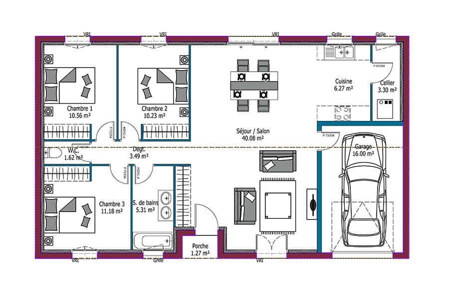 Mod le jeune budget plan maison 4 chambres avec garage maison personnalisable 92m plain - Modele maison plain pied 4 chambres ...