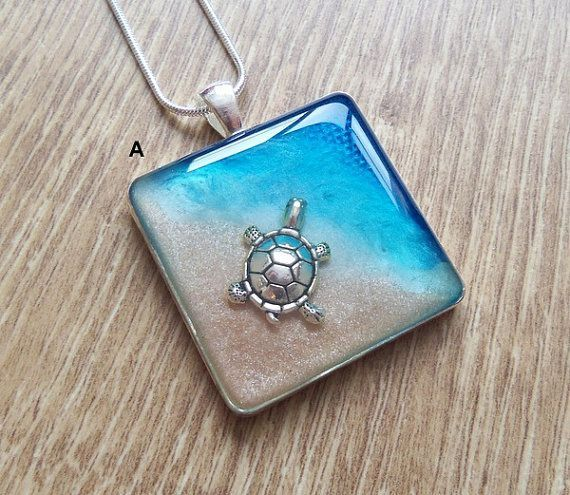 Turtle Necklace, Silver Turtle, Resin, Blue, Sea, Ocean, Beach ...