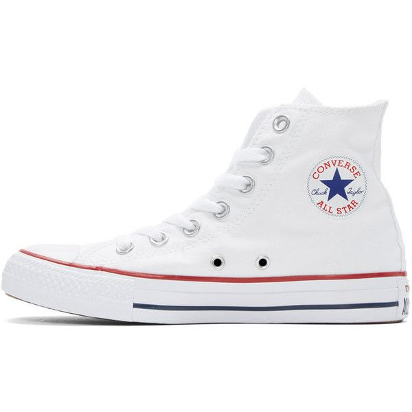 b106b8702c19 Converse White Classic Chuck Taylor All Star OX High-Top Sneakers ( 43) ❤  liked on Polyvore featuring shoes
