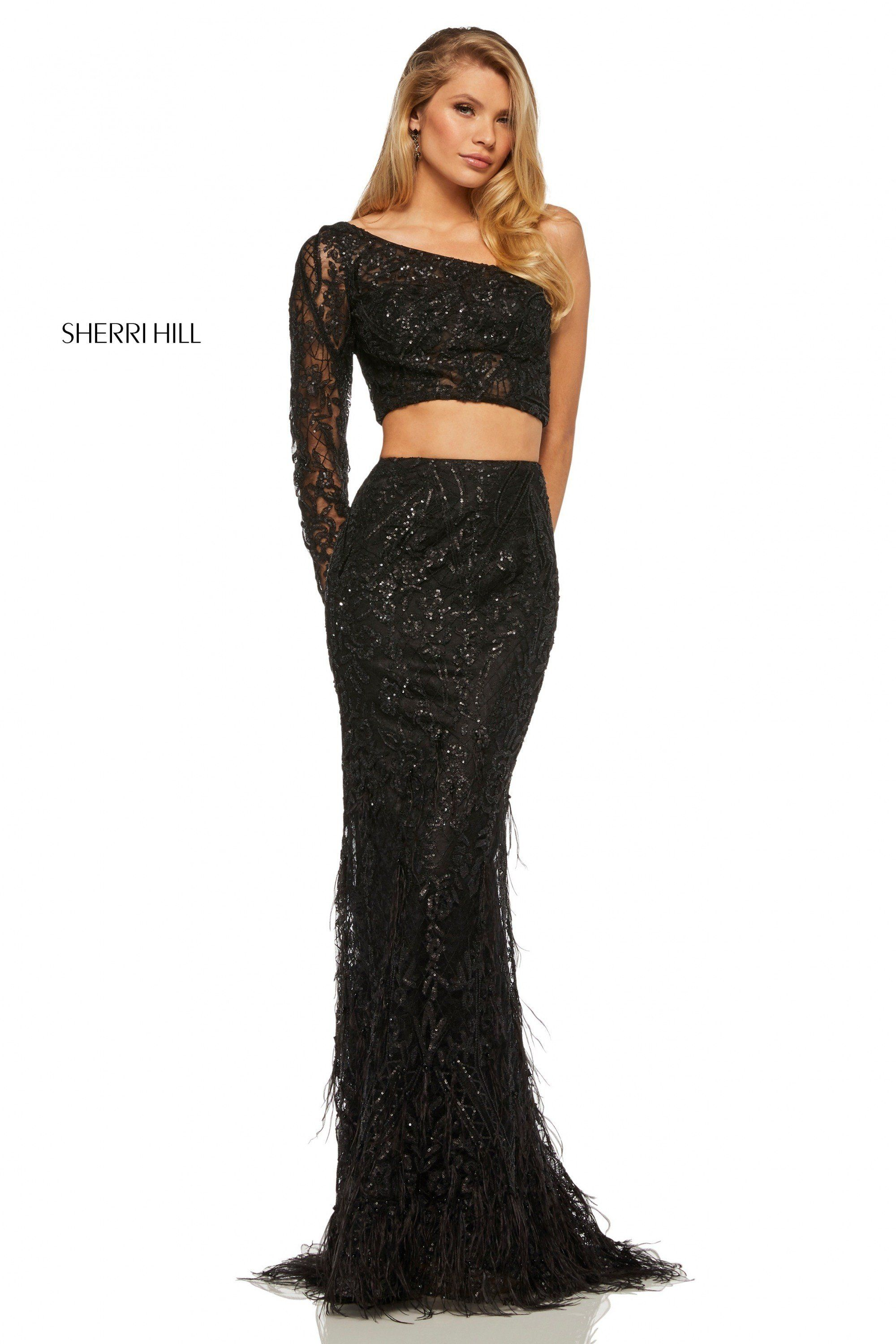 b25e6ca6bd Sherri Hill 52555 Sexy One Sleeve Two Piece Beaded Gown with Feathers
