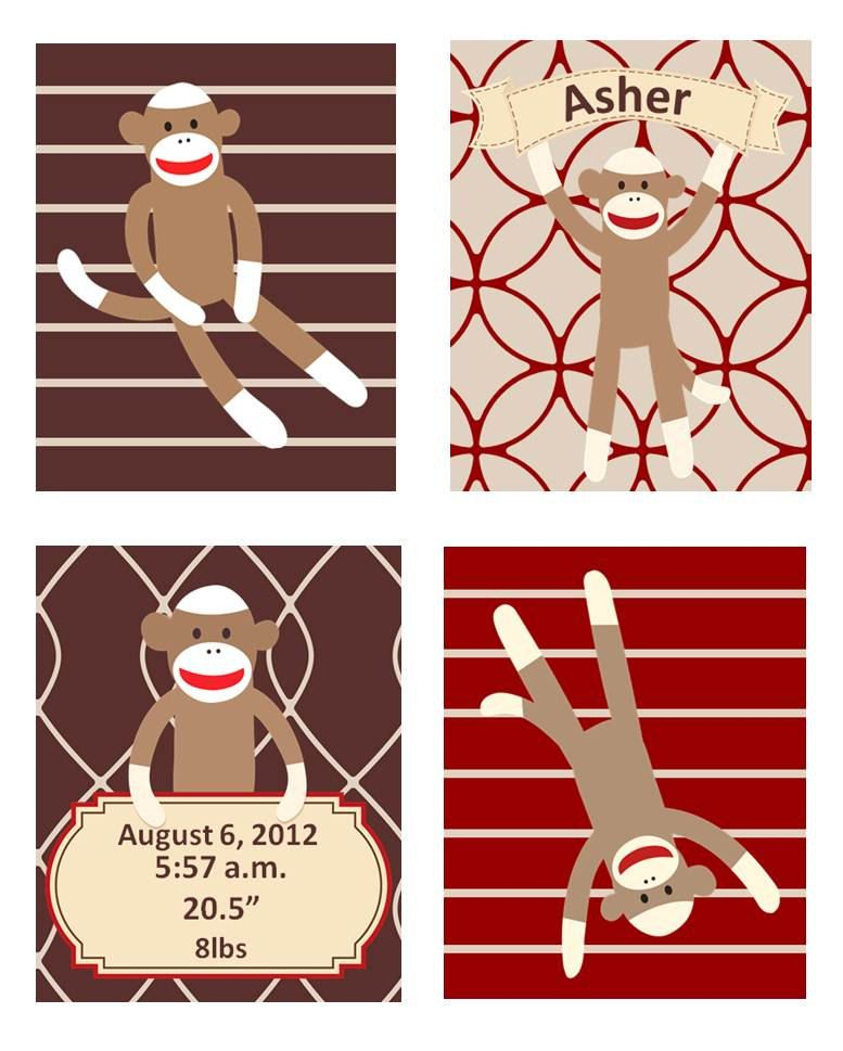 Sock Monkey Nursery Art, Red Cream And Brown Colors Set Of
