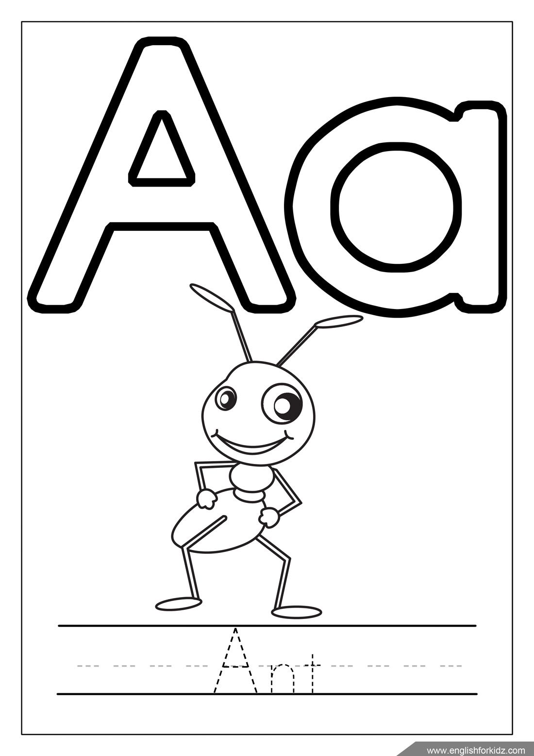 Alphabet Coloring Page Letter A Coloring A Is For Ant