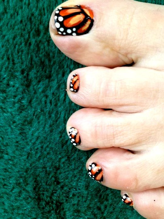Monarch Erfly Toe Nails