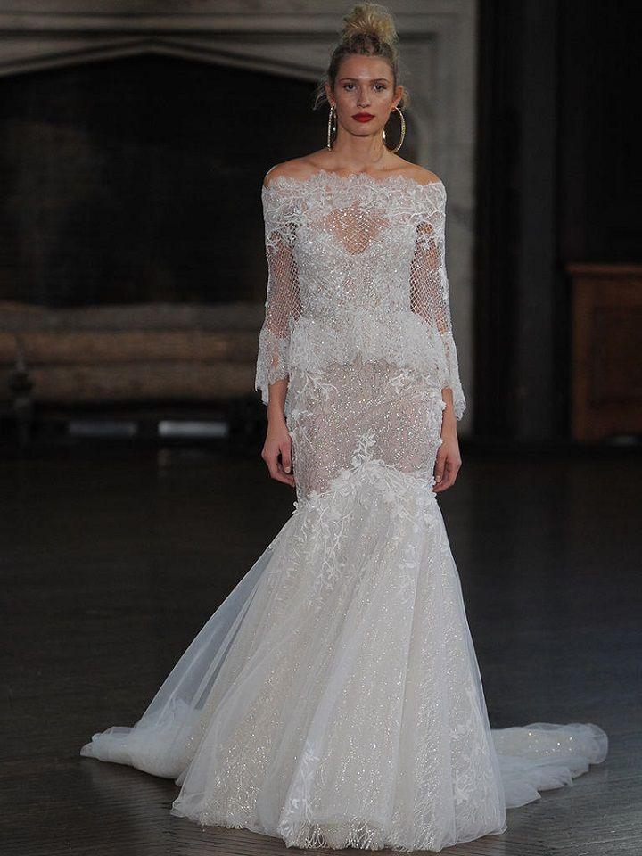 Berta off the shoulder long sleeve fit and flare wedding gown | itakeyou.co.uk #wedding #weddingfashion #bridal #weddingdress #weddinggown #bridalgown #weddingdresses #weddinggowns #berta #bridalinspiration #weddinginspiration #engaged