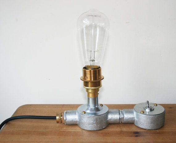 Industrial Conduit Steel Brass Lamp Holder Table Lamp Light Etsy Brass Lamp Brass Table Lamps Lamp