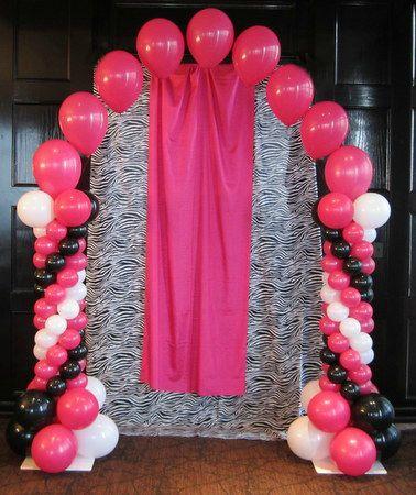 Black Pink And White Arch Balloon Decor Balloon Arch Column