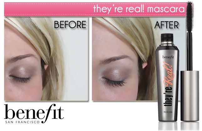 Benefit They're Real Mascara - before & after #makeup #beauty ...