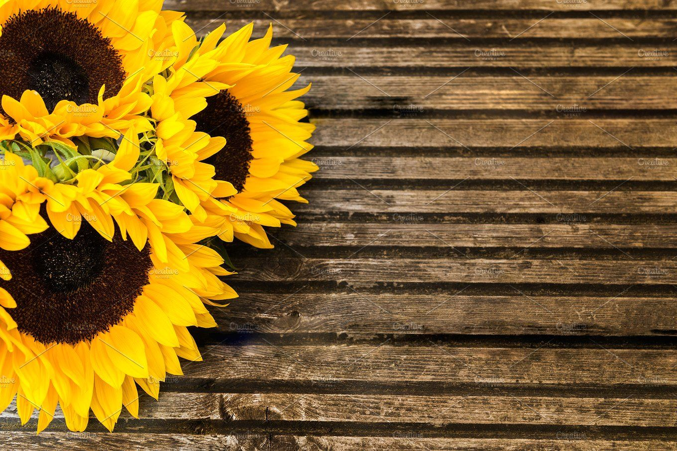 Yellow Sunflower Bouquet on Wooden Rustic Background by