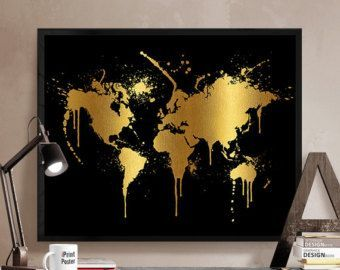 Gold World Map Art Print Poster World Map Print By WillowAndOlive - Black and gold world map