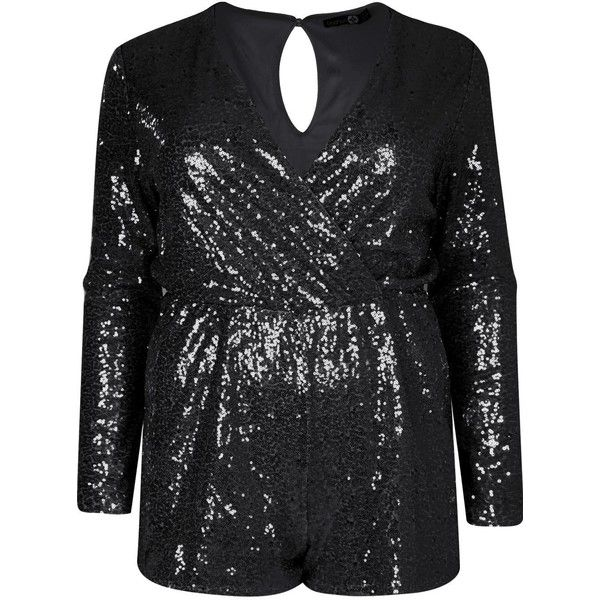 f6adc3d1dd2 Boohoo Plus Janine Sequin Wrap Front Playsuit